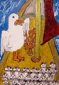 ACEO I Saw a Ship A-Sailing duck boat ocean mice Mousery Rhyme Original Cartoon #whimsical  #aceo #art #nursery-rhyme #duck #mice #ship #boat
