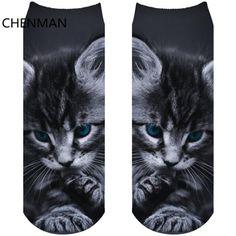 1 Pair 3D Printed Cartoon Casual Short Socks Women Men Cute Low Cut Ankle Cartoon Cotton Sock The Meng Pet Harajuku Cat