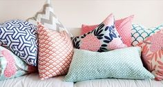 coral navy pink grey blue bedding color scheme layered - Google Search