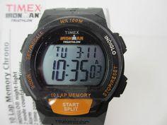 Timex Ironman T5K1699J Triathon Alarm Black Orange 10 Lap Memory 100M | eBay