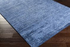 Haize Area Rug   Blue Solids and Borders Rugs Hand Woven   Style HAZ6020