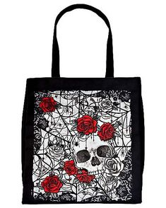 Skull and Roses Tote Bag - Spirithalloween.com Skulls And Roses, Reusable Grocery Bags, Beautiful Roses, Compliments, Red, Summer, Style, Shopping, Swag