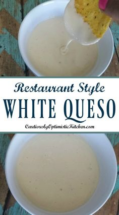 White Queso Recipe - Cautiously Optimistic Kitchen Why go out when you can stay in? Use this Restaurant Style White Queso recipe when your next craving hits! Extra smooth, and creamy cheese dip! Pozole, Mexican Dishes, Mexican Food Recipes, Mexican Queso Recipe, Moes Queso Recipe, White Queso Dip Recipe, Queso Fresco Recipe, Chili Con Queso Recipe, Queso Recipe Easy