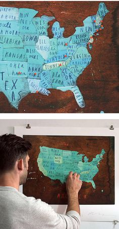 a signed print of a hand painted map of america. on wood. with pins. each print comes with 102 pins to chart your path to total american domination.