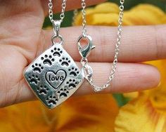 Charm Necklace - .925 Sterling Silver Chain - Paw Prints Love Diamond Shaped Pendant - Pet Dog Cat Lover Gift