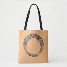 Tote Bag OUROBOROS black on coral Summer Tote Bags, Pink Dragon, Pink Snake, Snake Design, Ancient Symbols, Sticker Shop, Edge Design, Custom Clothes, Coral