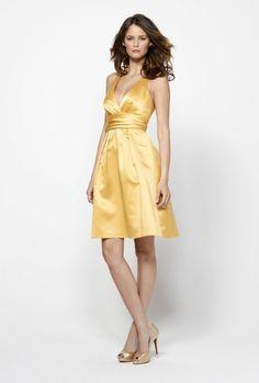 A-line V-neck Shirred Waistband Back Bow Pleated Skirt Satin Bridesmaid Dress-wbm0223, $160.95