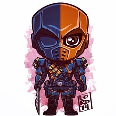 All the chibis were fighting with each other (heroes vs villans). DC: Chibi Deathstroke x Reader Dc Comics Superheroes, Dc Comics Art, Marvel Dc Comics, Marvel Heroes, Marvel Characters, Deathstroke The Terminator, Deadshot, Deathstroke Arrow, Cartoon Drawings