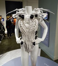 Robotic fashion - spidery legs extend out if intruders get too close. Designed by Anouk Wipprecht and Philip Wilck.