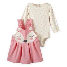 Koala Baby Girls 2 Piece Pink Fox Face Jumper and Cream/Pink Flower Print Long Sleeve Bodysuit Set