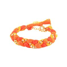 Ettika Orange Braided Thread Rhinestone Bracelet ($63) ❤ liked on Polyvore featuring jewelry, bracelets, woven jewelry, braid jewelry, orange bangles, clear crystal jewelry and orange jewelry