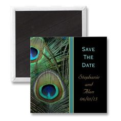 Proud Peacock Save The Date Magnet  Bright green, blue and gold peacock feathers with matching text colors make this wedding line of products bold and beautiful.