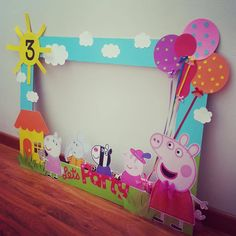 Best Images about Peppa Pig Birthday Party Third Birthday, 4th Birthday Parties, Birthday Party Decorations, Cumple Peppa Pig, Peppa Pig Pinata, Pig Birthday Cakes, Peppa Pig Birthday Ideas, Craft, Photo Frame Party