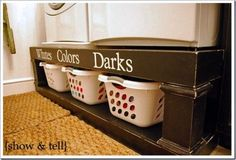 Storage Labels for Laundry Room- Vinyl Lettering Decal Organization - DIY Furniture Plans Easy Diy Projects, Home Projects, Washer And Dryer Pedestal, Laundry Pedestal, Wood Pedestal, Small Laundry, Laundry Baskets, Laundry Rooms, Laundry Area