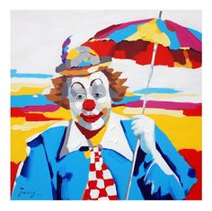 new Clown Oil Paintings | Clown with an Umbrella Oil Painting on Canvas - 100% Hand Made - Ready ...