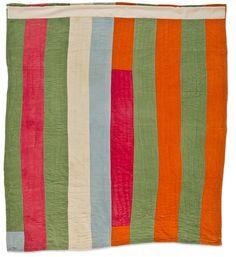 Beatrice Pettway (American, 1928-1988) Strip Quilt, about 1975 Cotton denim, corduroy Gee's Bend, Alabama 77x 67 in. Collection of Eleanor Bingham Miller