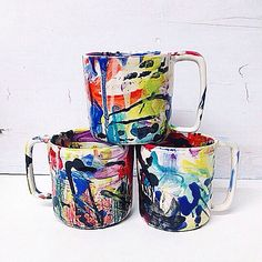 This wacky mug is great for a cup of joe or your favorite tea. My personal favorite is hot apple cider with a splash of rum, so good!  Each mug is