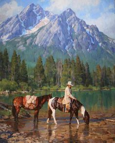 """Sawtooth Shadows"" by Jason Rich (Cowboy Artist) Westerns, Cowboy Artwork, Cowboy Pictures, Cowboy Pics, West Art, Le Far West, Mountain Man, Equine Art, Native American Art"