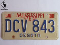 Placa - Matrícula metálica original de USA - Mississippi - Desoto 1988 - Vintage / Antigua | Capital Buyers