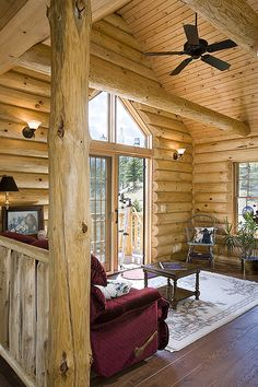 Special spaces on pinterest log homes home tours and for Log home sunrooms