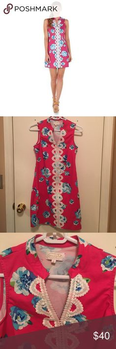 NWOT Fuchsia,Blue and White Floral Mudpie Dress NWOT beautiful fuchsia, blue and white floral Mudpie Dress. Never worn. Size small (0-4) Mud Pie Dresses