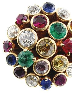 6e22240cb An 18 Karat Gold, Diamond, Colored Diamond and Colored Stone Ring, Cartier