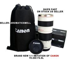 Canon cup mug with pouch and lid.