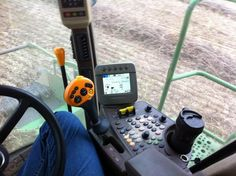 """#myawesomedesk Coffee the best part of my John Deere Combine office desk today, trying to beat the rain"""