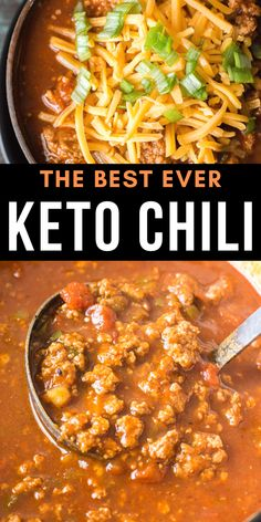 This amazing keto chili features tons of meat peppers spices and tomatoes! At just net carbs per serving this low carb no bean chili will a family favorite! Low Carb Chicken Recipes, Healthy Low Carb Recipes, Low Carb Dinner Recipes, Keto Dinner, Low Carb Keto, Beef Recipes, Keto Chicken, Shrimp Recipes, Chicken Pizza