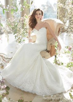 Ivory Alencon and Venise lace fit and flare bridal gown, sweetheart bodice with spaghetti straps, chapel train. Bridal Gowns, Wedding Dresses by Tara Keely - JLM Couture - Bridal Style tk2411 by JLM Couture, Inc.