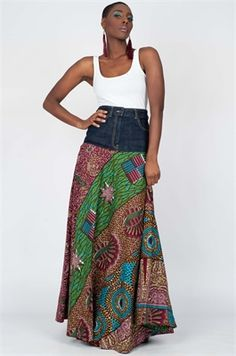 Carefree Muse - Long, Bright African Patchwork Skirt, Ooak Ethnic Bohemian chic, Rich colors, can fit sizes - S to XL African Dresses For Women, African Wear, African Women, African Lace, African Print Skirt, African Print Fashion, Fashion Prints, Ankara Mode, Ankara Clothing