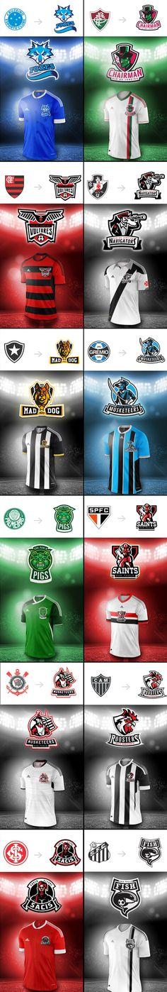 TIMEs Ilustrador e amante de futebol, Samir Taiar imaginou como seriam os escudos de clubes brasileiros (os grandes de RJ, SP, MG e RS) caso tivessem o modelo americano de design.