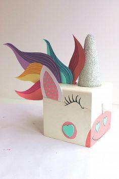 Piñatas~Painted Unicorn Valentine Card Box - Project by DecoArt Party Unicorn, Unicorn Valentine, Valentine Day Boxes, Valentines Day Party, Unicorn Birthday Parties, Valentine Day Crafts, Be My Valentine, Unicorn Surprise, Printable Valentine
