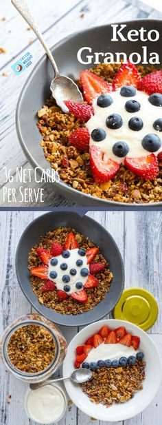 Keto Granola is honestly one of the most exciting recipes on this blog so far, why? because it honestly tastes like norma l granola... Its crunchy, its semi-sweet and it goes perfectly with some homemade keto yogurt and berries. via @fatforweightlos