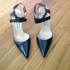 Manolo blahnik heels Manolo blahnik pointed toe heels navy blue with black and purple crocodile leather on straps  and a 3 1/2  inch white heel. Manolo Blahnik Shoes Heels