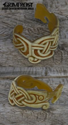 Horn Bracelet, Höggormr. This unique, handmade horn bracelet bears the design of a Höggormr, an adder that is the only poisonous snake in Scandinavia. In Viking mythology the giantess Hyrrokkin was known to ride a giant wolf with Höggormr as reins. http://shop.grimfrost.com/en/premium-items/premium-horn-bracelet-hoggormr.html