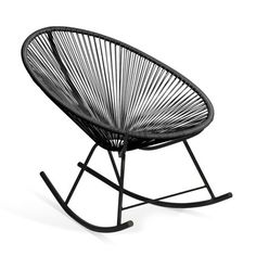 Shop for Acapulco Black Vinyl Indoor/Outdoor Rocking Chair. Get free delivery On EVERYTHING* Overstock - Your Online Garden & Patio Shop! Sofa Design, Canapé Design, Table Design, Furniture Design, Wooden Furniture, House Design, Outdoor Rocking Chairs, Outdoor Lounge, Indoor Outdoor
