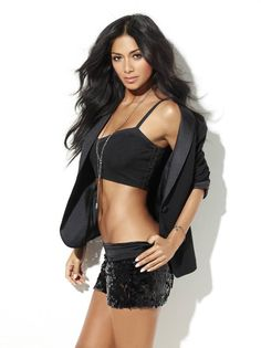 nicole Scherzinger in shorts top and jacket black