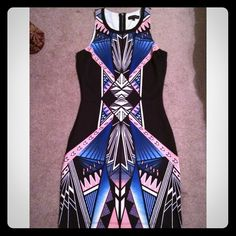 Graphic printed sleeveless mini!! ✨✨ Sleeveless graphic printed mini dress. Zip closure in the back. Black dress with blue, pink and white printed graphics. Polyester and spandex blend ✨✨ Jealous Tomato Dresses Mini
