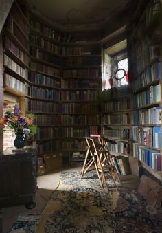 A reading alcove at the Tower at Sissinghurst Castle, Kent.