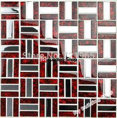 Brick Stainless steel mosaic tile glass mosaic kitchen backsplash tiles SSMT021 silver stainless steel mosaic red glass mosaics
