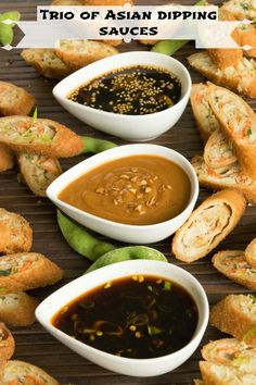 Spring & egg rolls with trio of Asian dipping sauces. Honey sesame sauce, spicy soy sauce & savory peanut sauce.