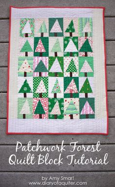 Patchwork Tree Quilt Block Tutorial - Diary of a Quilter Christmas Tree Quilt Block, Christmas Quilt Patterns, Patchwork Quilt, Christmas Sewing Projects, Winter Quilts, Quilting Tutorials, Quilting Patterns, Quilt Making, Quilt Blocks