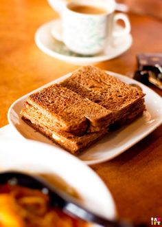 Old Town White Coffee Cafe - Ipoh, Malaysia {Kaya and Butter Toast with a thick Block of unmelted Butter sandwiched in between}