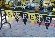 Sweets Party Banner - Bumble Bee Party Banner, Black and Yellow Party decor, ready to ship