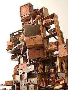 Teetering bookshelves
