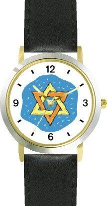 Star of David or Mogen David No.1 Judaica Jewish Theme - WATCHBUDDY® DELUXE TWO-TONE THEME WATCH - Arabic Numbers - Black Leather Strap-Children's Size-Small ( Boy's Size & Girl's Size ) WatchBuddy. $49.95. Save 38%!