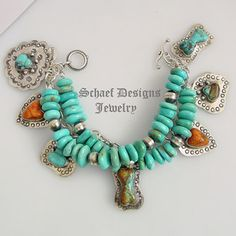 Schaef Designs Turquoise apple coral & sterling silver pet lovers Southwestern charm bracelet | pet lovers jewelry | Exclusive Bobby Schaefer Designs Copywritten all rights reserved | New Mexico