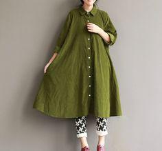 Taille Plus vert Corduroy vrac shirt Maxi Dress : Robe par bagboy