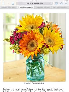 Deliver the most beautiful part of the day right to their door! Bright orange and yellow 'Sunbeam' sunflowers—known for their striking yellow/green centers—are gathered with pink Gypsy dianthus, bear grass and solidago, all picked at their peak from select floral farms to bring a radiant smile to anyone's face. Good for August-sept